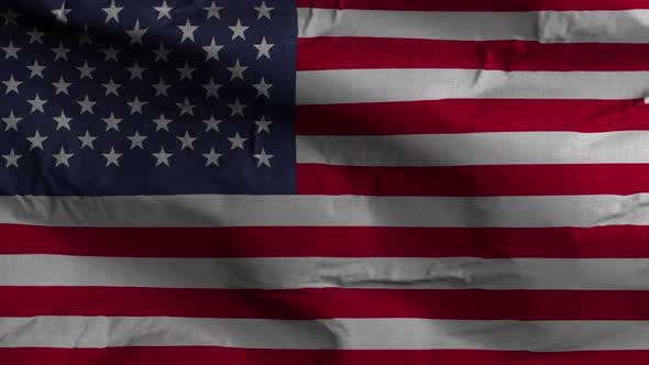 USA Flag Textured Waving Background 4K