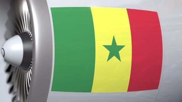 Airplane Turbine with Flag of Senegal