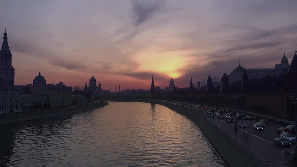 Thumbnail for Moscow City and River - Kremlin Buildings - Sunset Twilight