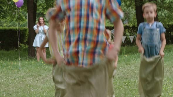 Thumbnail for Trying to Be First in sack Race