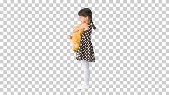 Thumbnail for Little girl in polka dot dress hugging, Alpha Channel