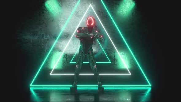 Thumbnail for Dancing Alien Robot on a Metal Neon Background