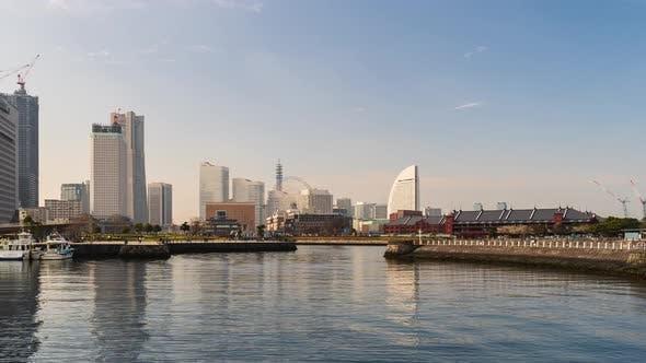 time lapse of port in Yokohama bay, Japan