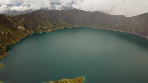 Thumbnail for Aerial view of Quilotoa volcano crater and lake, Peru.