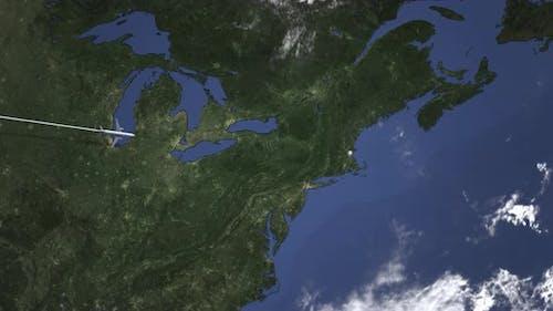 Flugzeugflugzeug nach Boston Vereinigte Staaten Von Westen