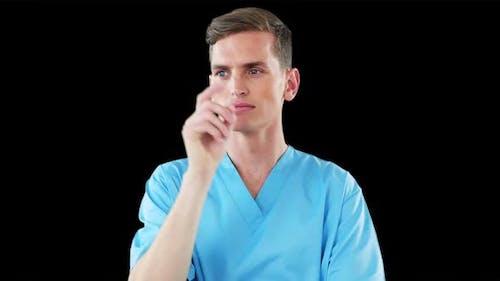 Surgeon using digital screen