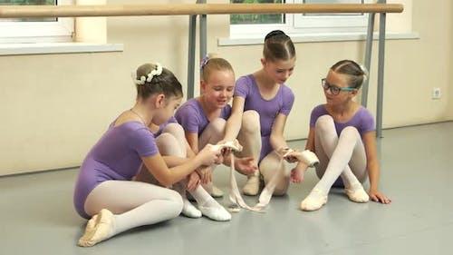 Beautiful Young Ballerinas at Dance Studio
