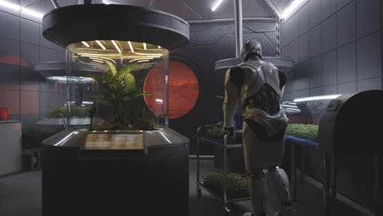 Thumbnail for Robot Pushing Cart in Lab of Mars Base