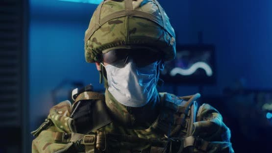Soldier Wearing Face Mask