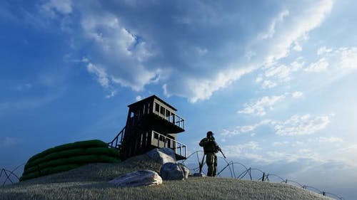 Soldier Watching the Military Watchtower