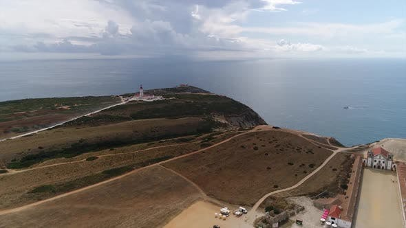 Thumbnail for Aerial View of Lighthouse and Old Cathedral Near Sea