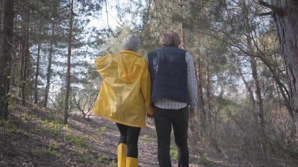 Thumbnail for Back of Man and Woman Holding Hands Walking in the Spring Forest
