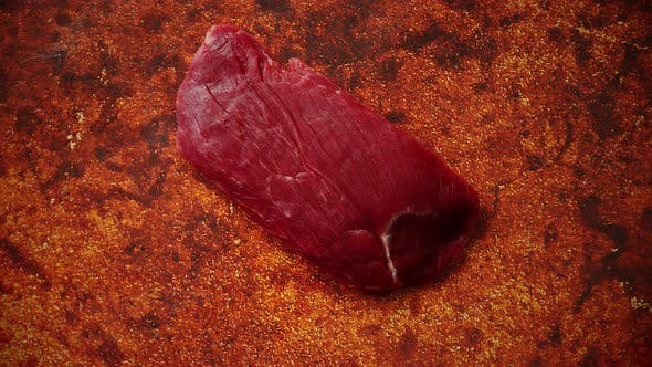 Thumbnail for Piece of Raw Fresh Beef Steak Placed on Rusty Background