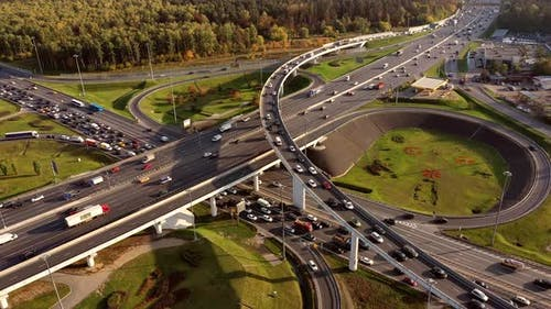 Aerial View Freeway Intersection Traffic Trails Moscow