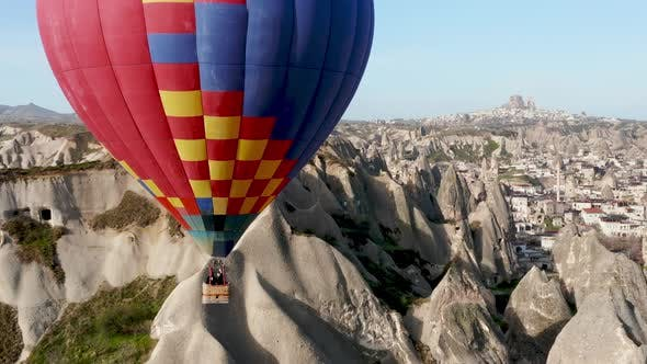 Colourful Red Blue Yellow Colours Hot Air Baloons Aerial Drone Flight. The Great Tourist Attraction