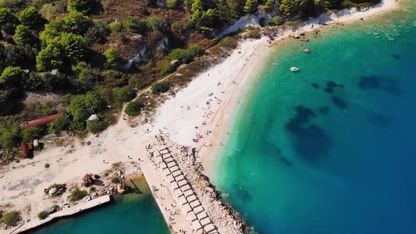 Aerial View of Adriatic Coastline in Albanian Island.