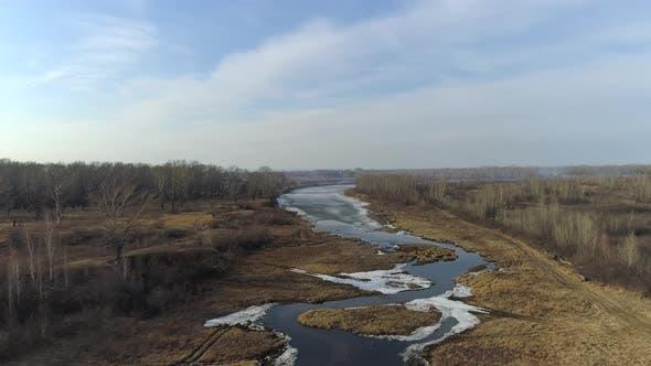 Spring Flight Over Siberian River