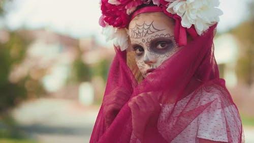 Portrait of Little Girl in Halloween Costume