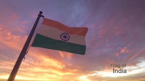 India Flag on a Flagpole V3