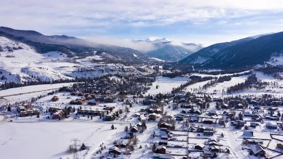 Thumbnail for Dillon Colorado Rocky Mountains Winter Morning Snowy Town Hyperlapse