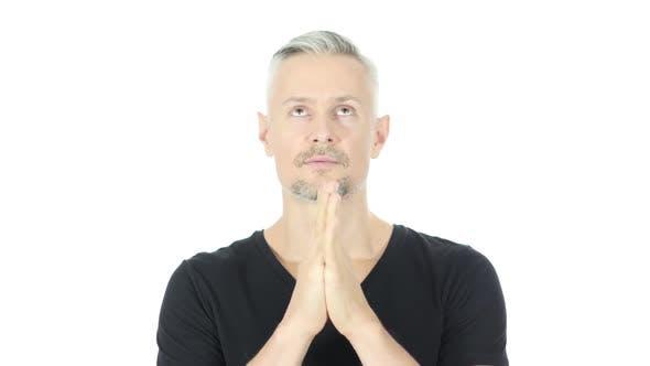 Thumbnail for Praying, Help me God, Upset Middle Aged Man, White Background