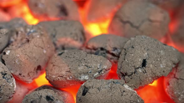 Glowing Charcoal Briquettes