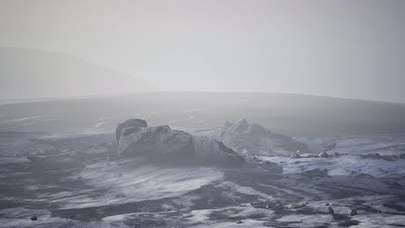 Antarctic Mountains Snow Fog