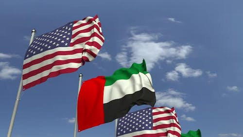 Flags of the UAE and the USA