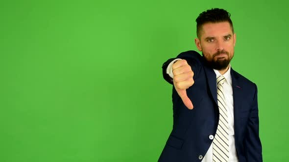 Thumbnail for Business Man Shows Thumb on Disagreement, Green Screen, Studio