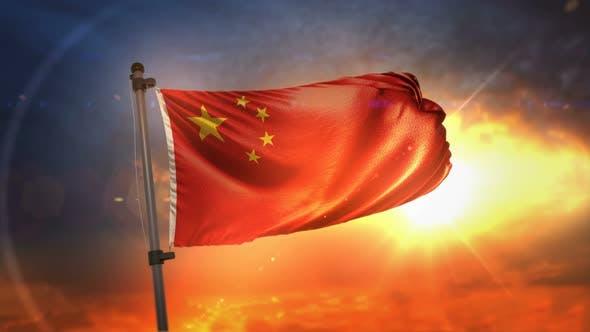 China Flag Backlit At Beautiful Sunrise Loop Slow Motion
