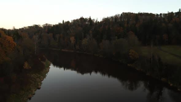 Spooky Halloween Flight Over River Gauja in Evening