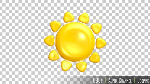 Thumbnail for Sunny Summer 3D Emoji Icon on Alpha
