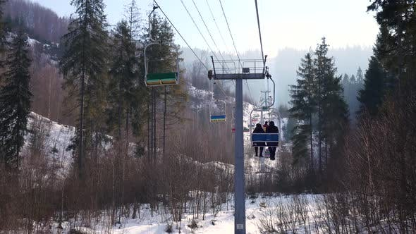 Thumbnail for Ski Lift Is Lifting People To the Top of Mountain at Wonderful Day in the Carpathians