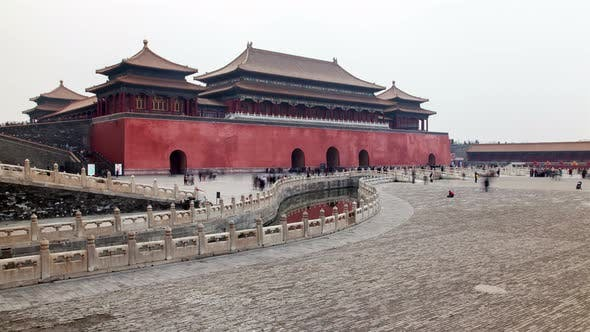 Thumbnail for Chinese People Walk To Meridian Gate in Beijing Timelapse