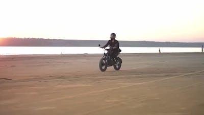 Biker in Helmet and Jacket Man is Riding at Sport Motorbike