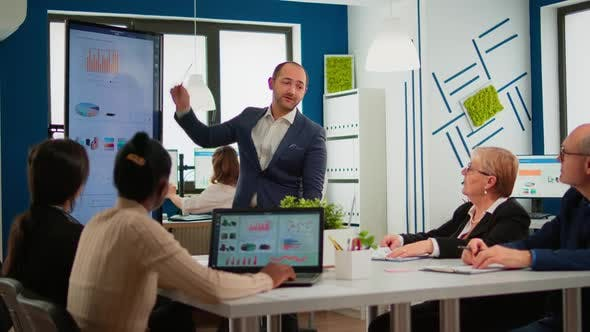 Business Partner Presenting Company Strategy to Diverse Team
