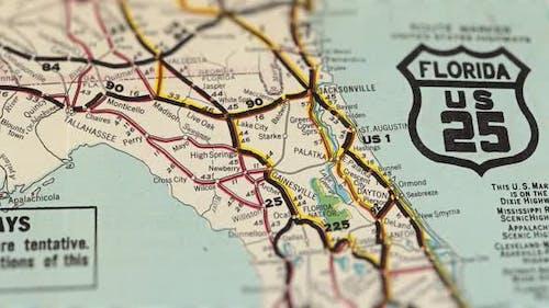 USA Old Road Paper Map Slider Shot