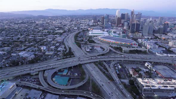 Thumbnail for Downtown Los Angeles as seen from a helicopter at dusk