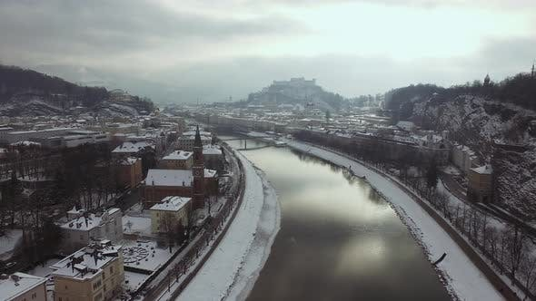 Aerial view of Salzburg and the Salzach River
