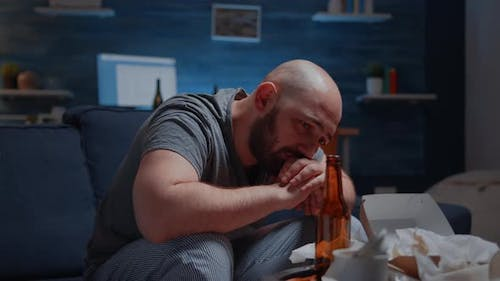 Depressed Man Crying Feeling Loneliness Chronic Fatigue