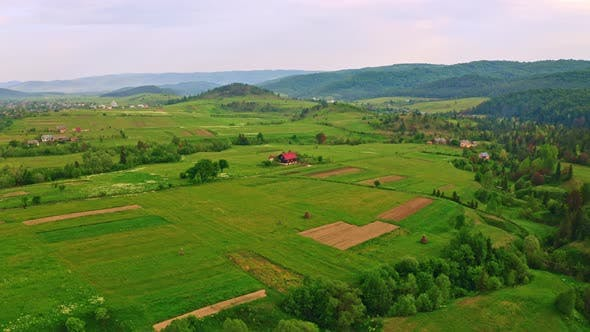 Aerial View on Countryside