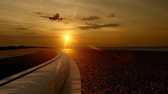 Thumbnail for Passenger Plane Landing at Sunset