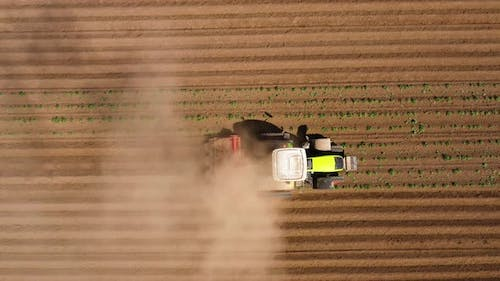 Agricultural Machinery in the Potato Field Cultivates the Land