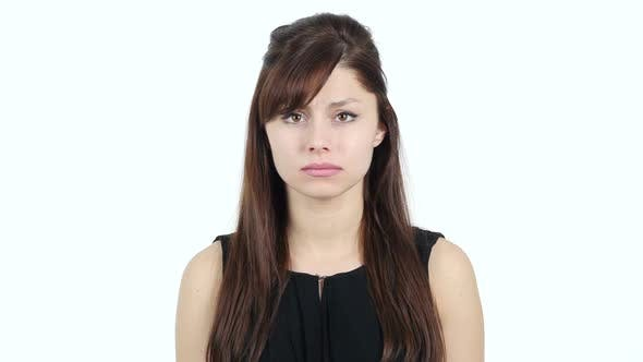 Cover Image for Portrait of Sad Young Girl, White Background