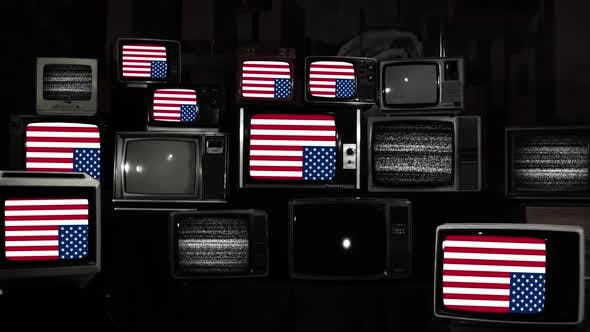 Thumbnail for US flags Upside Down on Retro TVs. Black and White Tone.