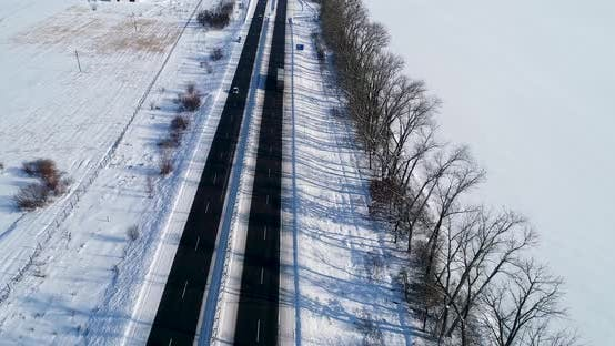 Thumbnail for Aerial View of the Snow Road in Winter