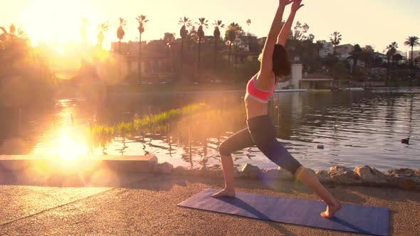 Thumbnail for Woman Doing Yoga In The Park At Dawn