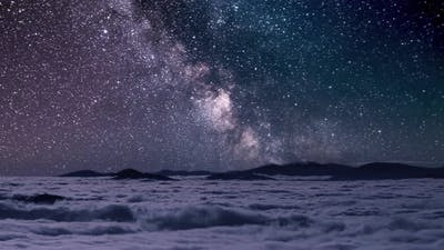 Milky Way Galaxy in Misty Mountains Astronomy