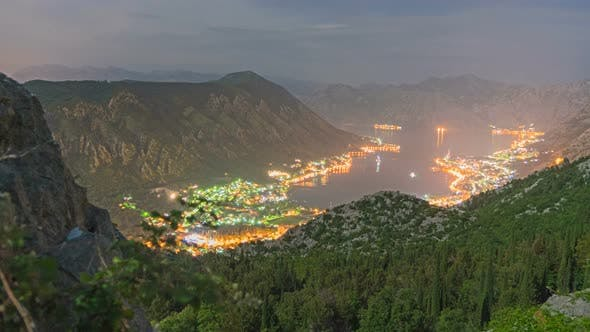 Thumbnail for Natural Bay Travel Destination Night View, Fjord of Kotor, Montenegro
