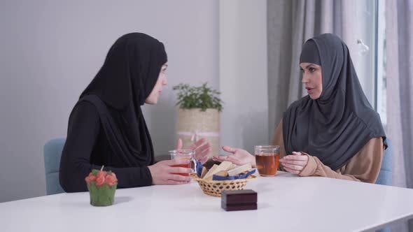 Thumbnail for Portrait of Two Muslim Women Arguing Indoors
